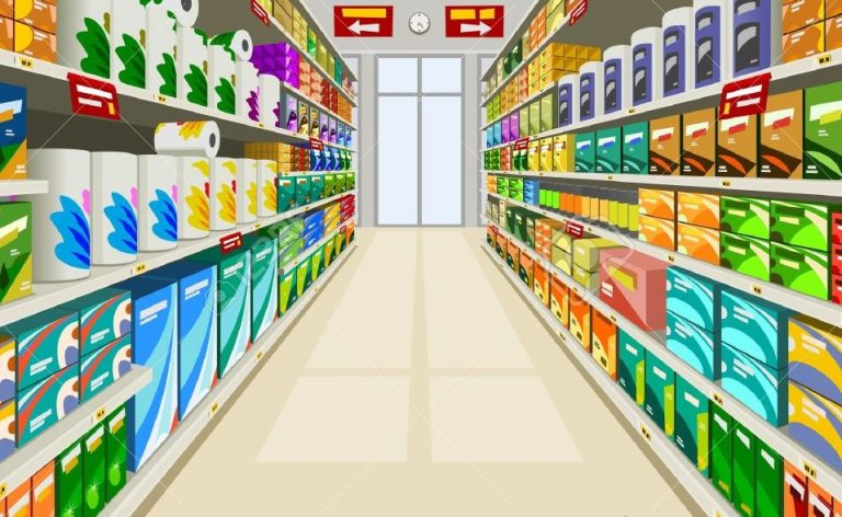 Supermarket Aisle with Tissue Paper Products